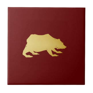 Playfully Elegant Hand Drawn Gold Actionable Bear Ceramic Tiles