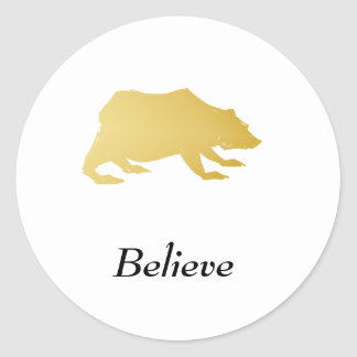 Playfully Elegant Hand Drawn Gold Actionable Bear Classic Round Sticker
