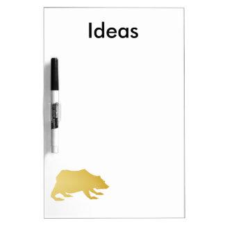 Playfully Elegant Hand Drawn Gold Actionable Bear Dry Erase Board