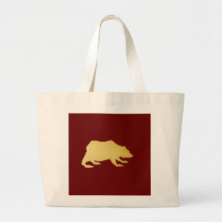 Playfully Elegant Hand Drawn Gold Actionable Bear Large Tote Bag