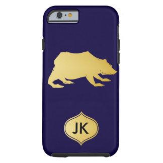 Playfully Elegant Hand Drawn Gold Actionable Bear Tough iPhone 6 Case