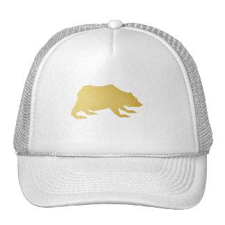 Playfully Elegant Hand Drawn Gold Actionable Bear Trucker Hat