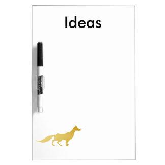 Playfully Elegant Hand Drawn Gold Fox Dry Erase Board