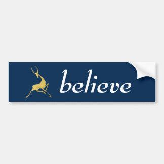 Playfully Elegant Hand Drawn Gold Gazelle Bumper Sticker
