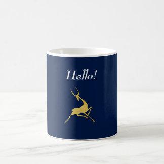 Playfully Elegant Hand Drawn Gold Gazelle Coffee Mug