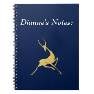 Playfully Elegant Hand Drawn Gold Gazelle Notebook