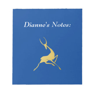 Playfully Elegant Hand Drawn Gold Gazelle Notepad