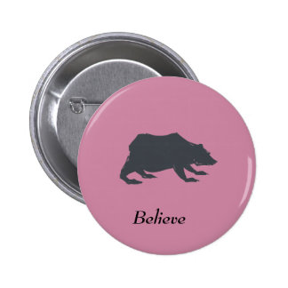 Playfully Elegant Hand Drawn Grey Actionable Bear 2 Inch Round Button