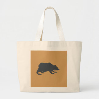 Playfully Elegant Hand Drawn Grey Actionable Bear Large Tote Bag