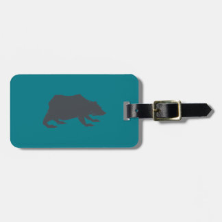 Playfully Elegant Hand Drawn Grey Actionable Bear Luggage Tag