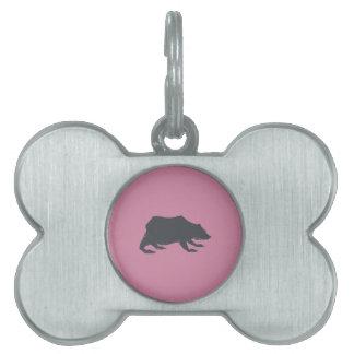 Playfully Elegant Hand Drawn Grey Actionable Bear Pet ID Tag