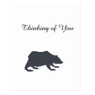 Playfully Elegant Hand Drawn Grey Actionable Bear Postcard