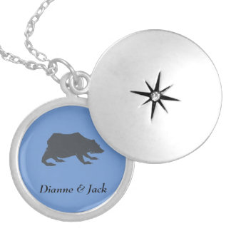 Playfully Elegant Hand Drawn Grey Actionable Bear Silver Plated Necklace