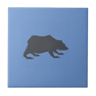 Playfully Elegant Hand Drawn Grey Actionable Bear Tile