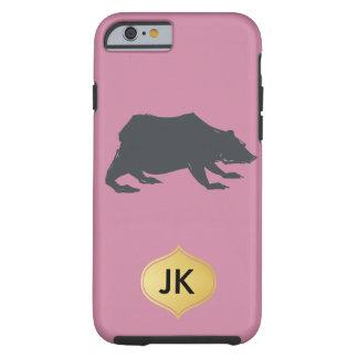 Playfully Elegant Hand Drawn Grey Actionable Bear Tough iPhone 6 Case
