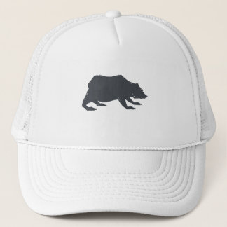 Playfully Elegant Hand Drawn Grey Actionable Bear Trucker Hat