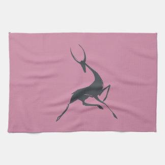 Playfully Elegant Hand Drawn Grey Gazelle Kitchen Towel
