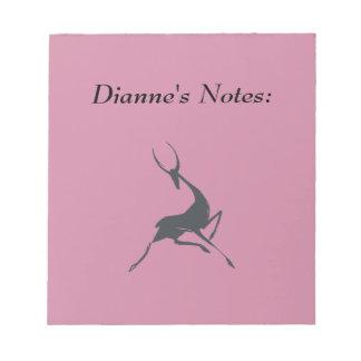 Playfully Elegant Hand Drawn Grey Gazelle Notepad