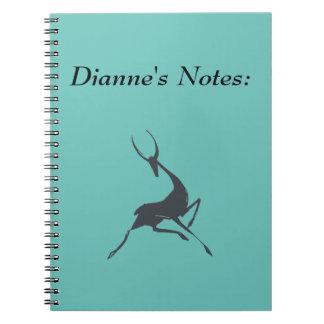 Playfully Elegant Hand Drawn Grey Gazelle Spiral Note Books