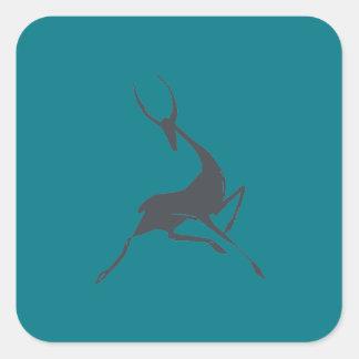 Playfully Elegant Hand Drawn Grey Gazelle Square Sticker