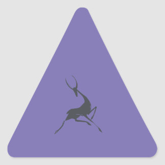Playfully Elegant Hand Drawn Grey Gazelle Triangle Sticker