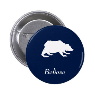 Playfully Elegant Hand Drawn White Actionable Bear 2 Inch Round Button