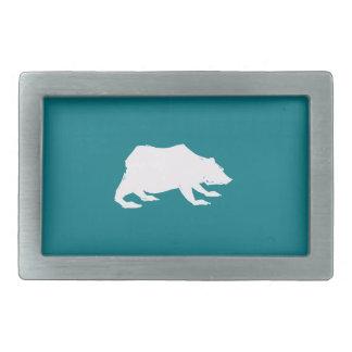 Playfully Elegant Hand Drawn White Actionable Bear Belt Buckles