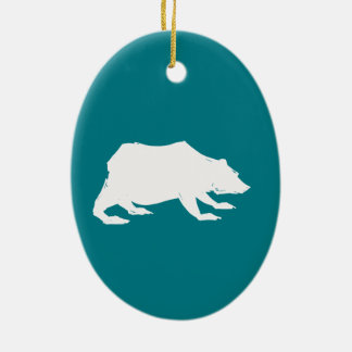 Playfully Elegant Hand Drawn White Actionable Bear Ceramic Oval Ornament