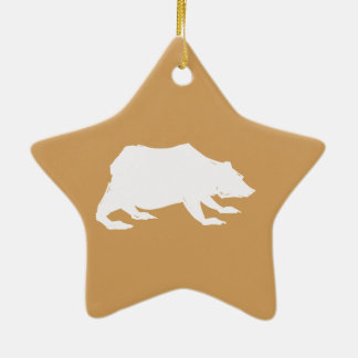 Playfully Elegant Hand Drawn White Actionable Bear Ceramic Star Ornament