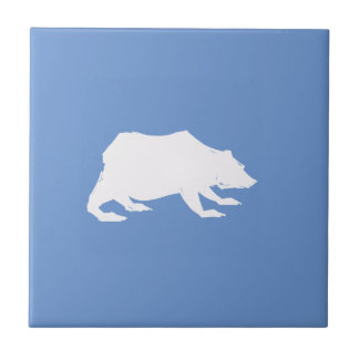 Playfully Elegant Hand Drawn White Actionable Bear Ceramic Tiles