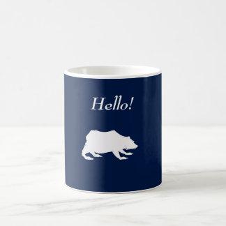 Playfully Elegant Hand Drawn White Actionable Bear Coffee Mug
