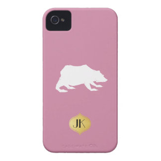 Playfully Elegant Hand Drawn White Actionable Bear iPhone 4 Case-Mate Case