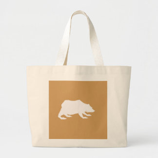 Playfully Elegant Hand Drawn White Actionable Bear Large Tote Bag