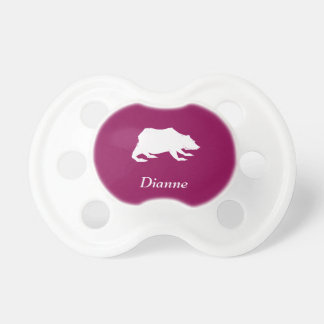 Playfully Elegant Hand Drawn White Actionable Bear Pacifier