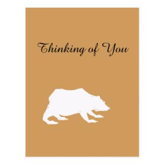 Playfully Elegant Hand Drawn White Actionable Bear Postcard