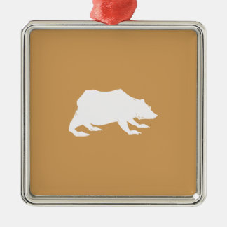 Playfully Elegant Hand Drawn White Actionable Bear Silver-Colored Square Ornament