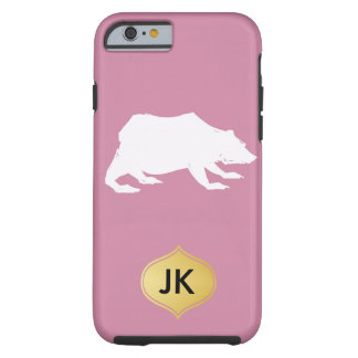 Playfully Elegant Hand Drawn White Actionable Bear Tough iPhone 6 Case