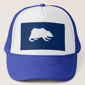 Playfully Elegant Hand Drawn White Actionable Bear Trucker Hat