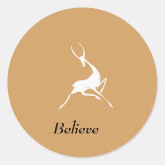 Playfully Elegant Hand Drawn White Gazelle Classic Round Sticker