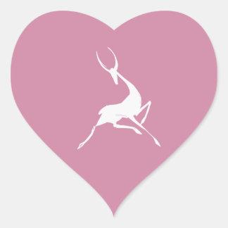 Playfully Elegant Hand Drawn White Gazelle Heart Sticker