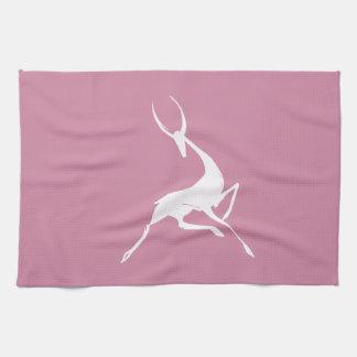 Playfully Elegant Hand Drawn White Gazelle Kitchen Towel