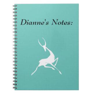 Playfully Elegant Hand Drawn White Gazelle Notebooks