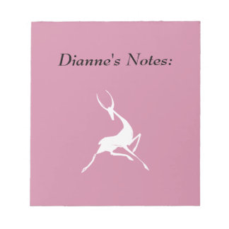 Playfully Elegant Hand Drawn White Gazelle Notepad