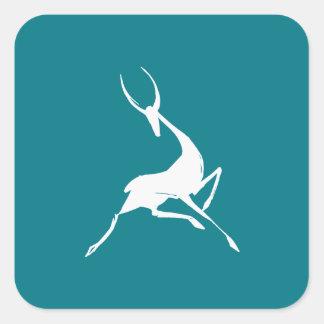 Playfully Elegant Hand Drawn White Gazelle Square Sticker