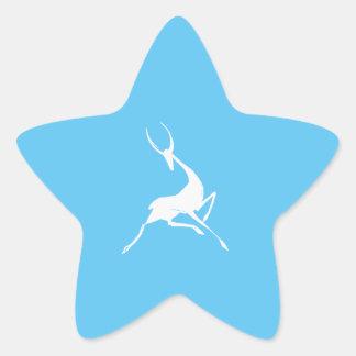 Playfully Elegant Hand Drawn White Gazelle Star Sticker