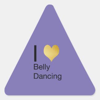 Playfully Elegant I Heart Belly Dancing Triangle Sticker