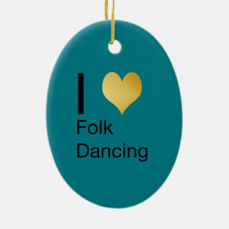 Playfully Elegant I Heart Folk Dancing Ceramic Oval Ornament