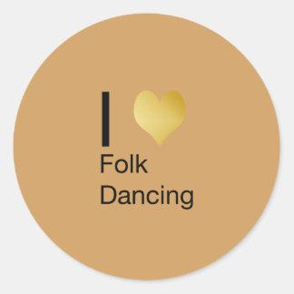 Playfully Elegant I Heart Folk Dancing Round Sticker