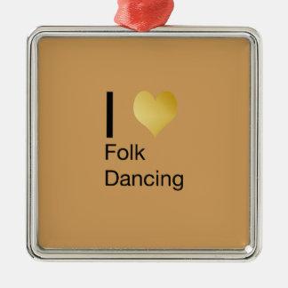 Playfully Elegant I Heart Folk Dancing Silver-Colored Square Ornament