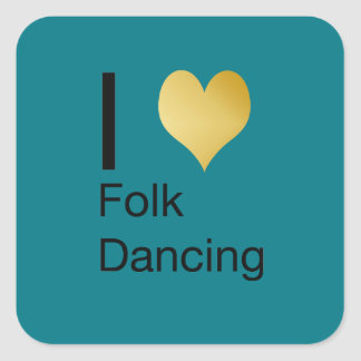 Playfully Elegant I Heart Folk Dancing Square Sticker